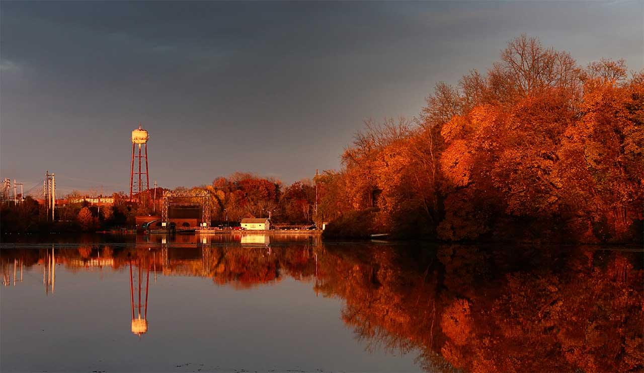 November reflections on Van Cleef Lake in Seneca Falls