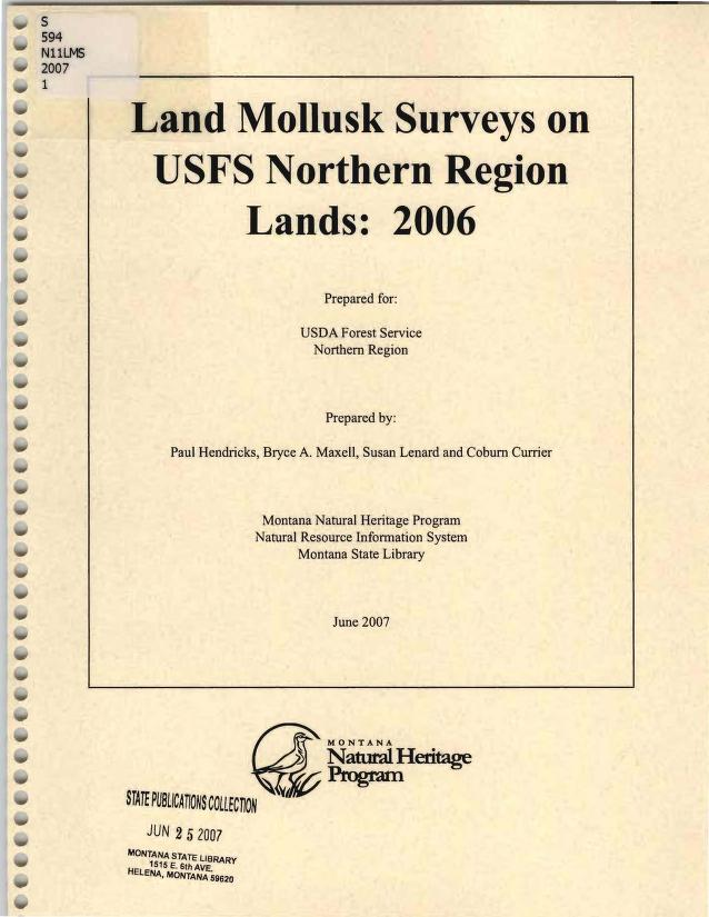 Land mollusk surveys on USFS Northern Region lands by Paul Hendricks